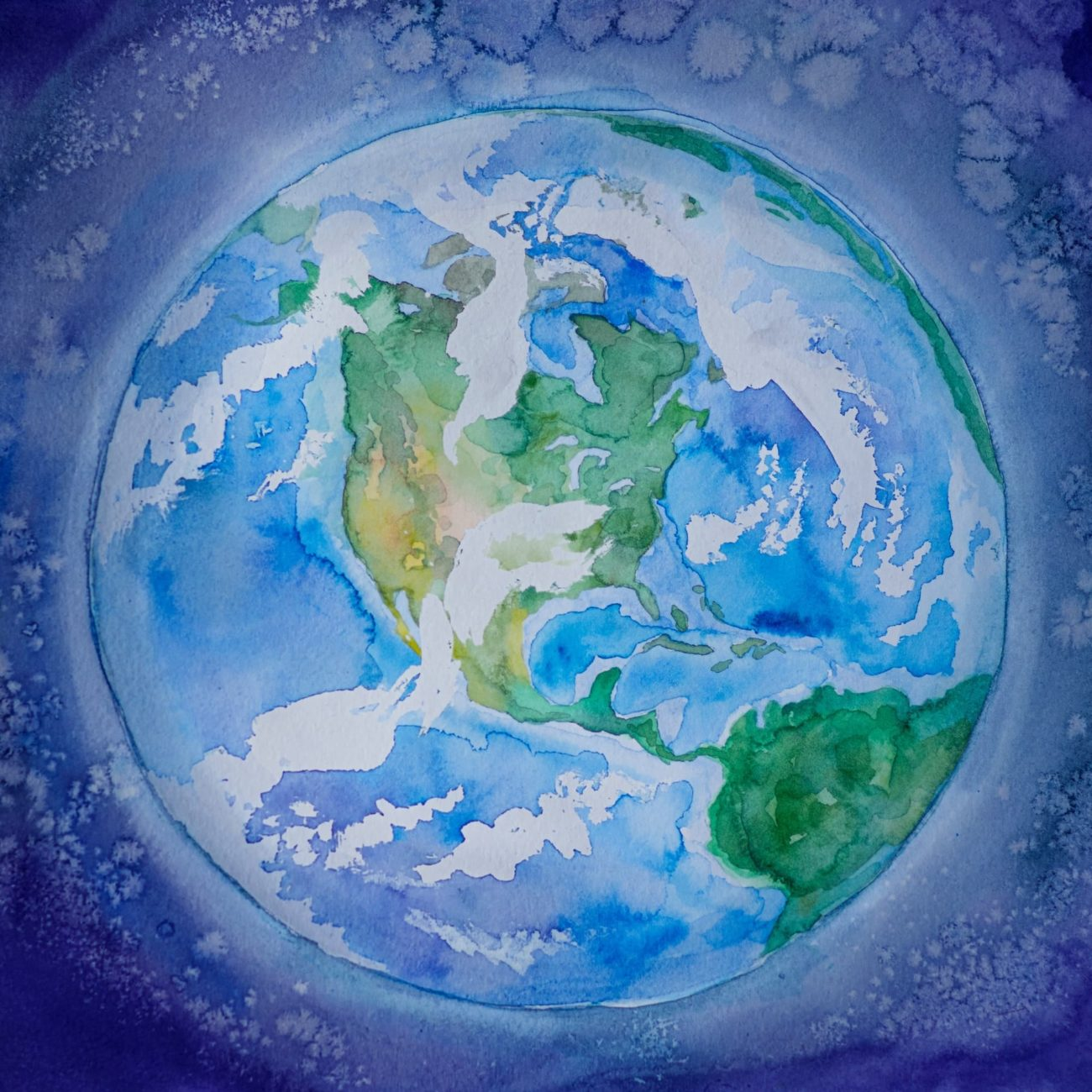 Pastel painting of planet Earth.
