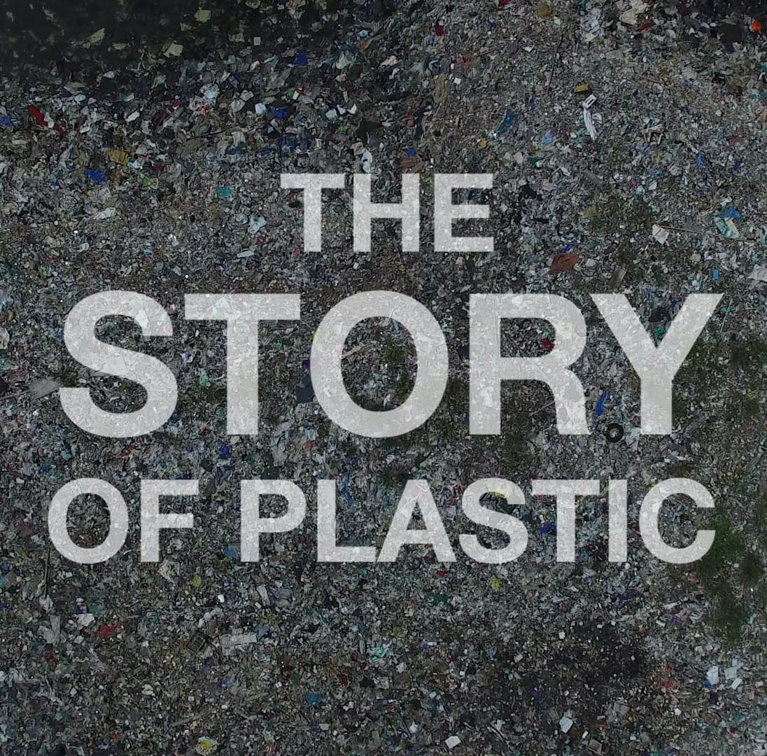 """Movie poster for """"The Story of Plastic"""". """"The Story of Plastic"""" is written on top of a background of plastic pollution."""